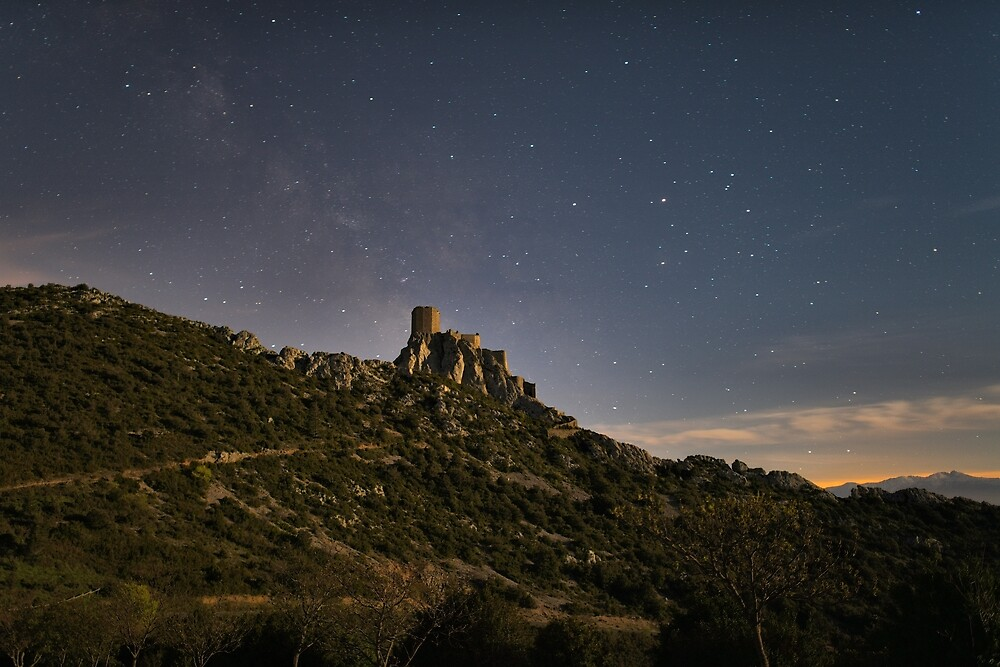 Castle of Quéribus under the Milky Way by Philippe Contal
