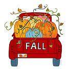 Red Vintage Pumpkin Truck Fall Autumn Season by DoubleBrush