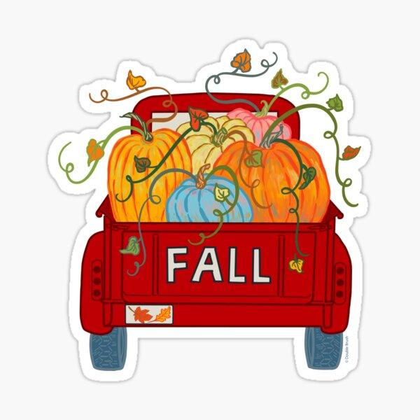Red Vintage Pumpkin Truck Fall Autumn Season Sticker