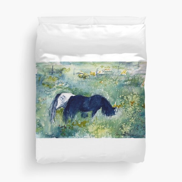 Ponies in the Meadow watercolour by CheyAnne Sexton Duvet Cover