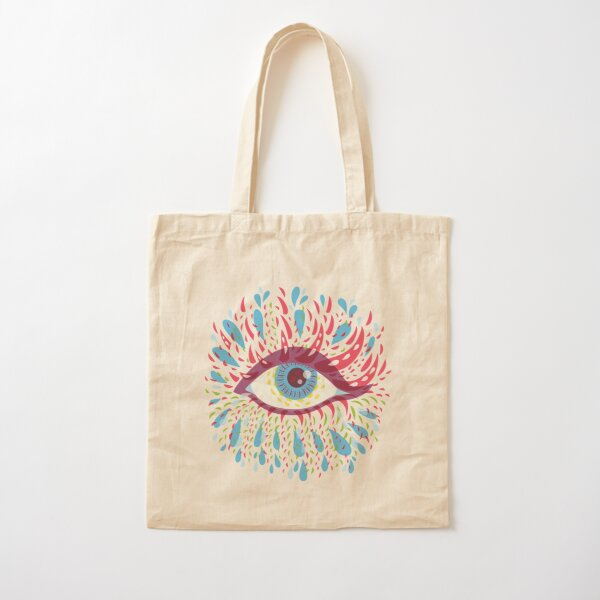 Weird Blue Psychedelic Eye Cotton Tote Bag