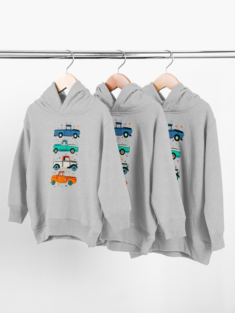 Alternate view of Bright Vintage Trucks  Toddler Pullover Hoodie