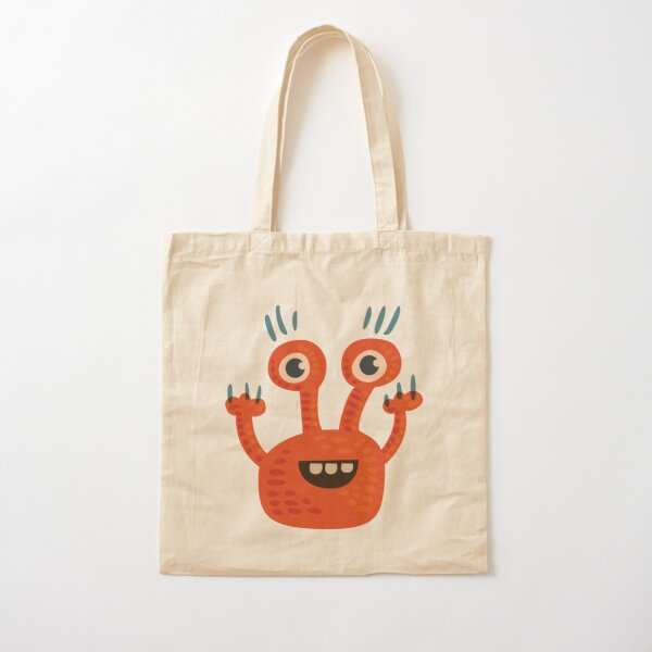Cute Orange Monster Is Funny Too Cotton Tote Bag