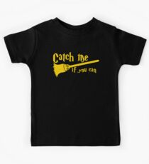 Catch me if you can wizard broomstick magic! Kids Clothes