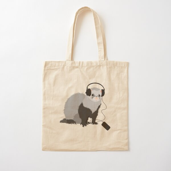Funny Musical Ferret Cotton Tote Bag