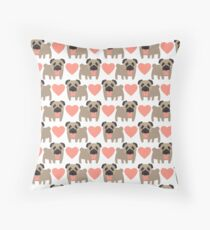 Pugs and Hearts Throw Pillow