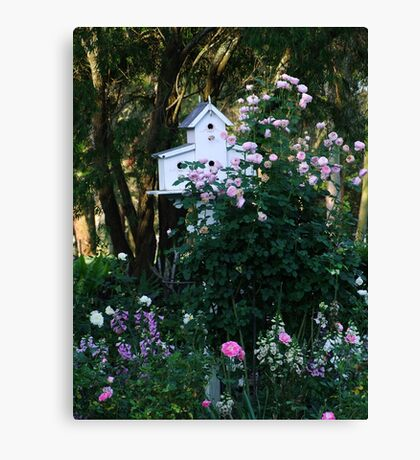 Pink Rose and Birdhouse! Canvas Print