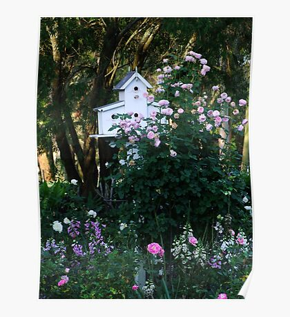 Pink Rose and Birdhouse! Poster