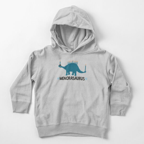 Hanukkah dinosaur Menorasaurus Stegosaurus with Menorah lights on the back Toddler Pullover Hoodie