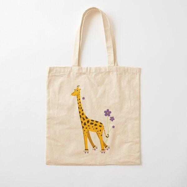 Purple Cartoon Funny Giraffe Roller Skating Cotton Tote Bag
