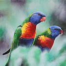 Rainbow Lorikeets by lukekellyart