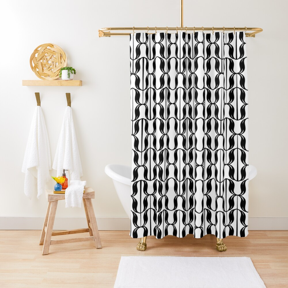 black and white typographical pattern Shower Curtain