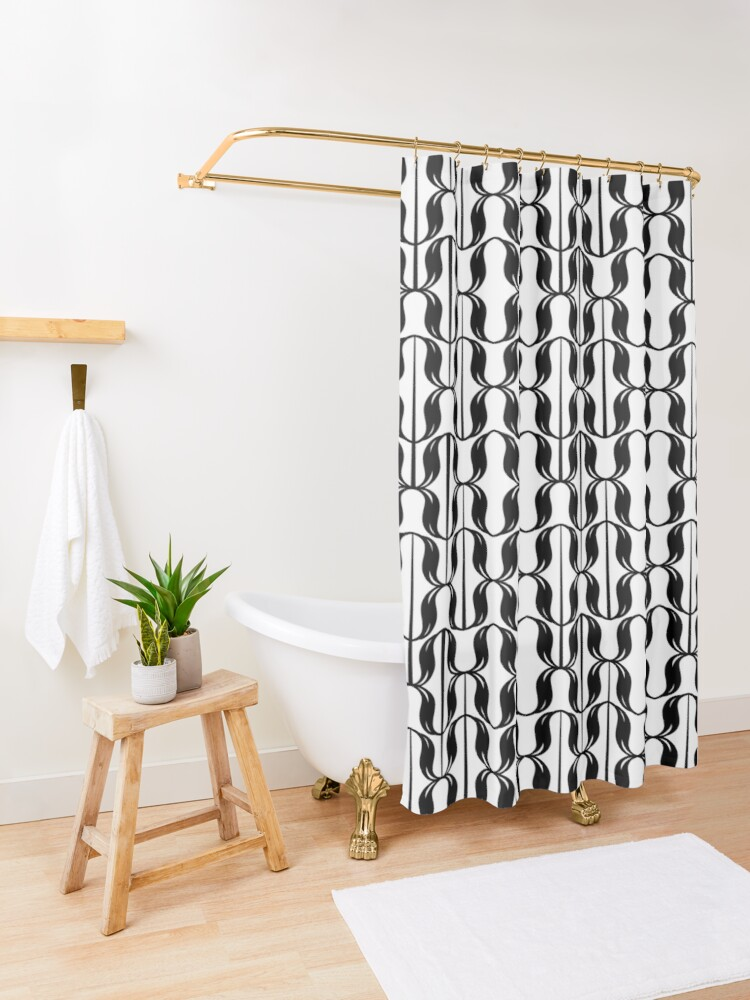 Alternate view of black and white typographical pattern Shower Curtain