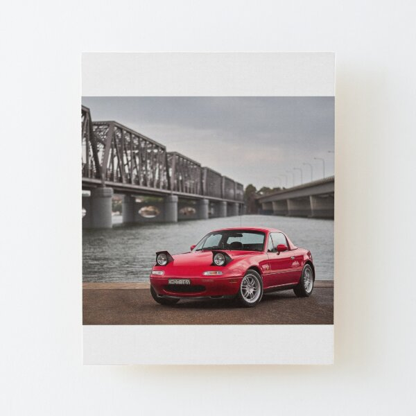 Miata MX-5 NA By The River Wood Mounted Print