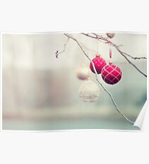 Christmas Ornaments in a Frosty Tree Poster