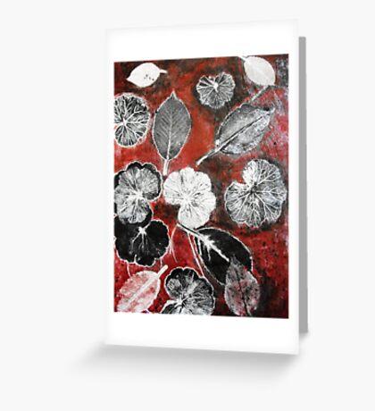 November's Garden  1 - Monoprint Greeting Card