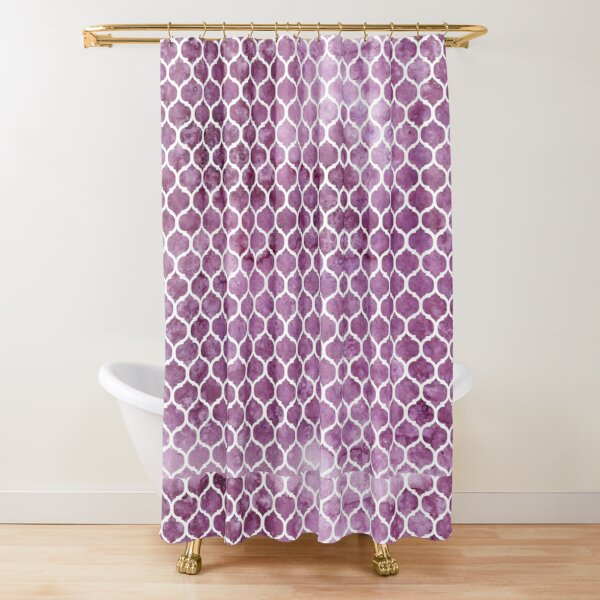 Rose Trellis Pattern - Purple Shower Curtain