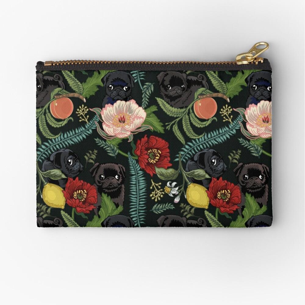 Botanical and Black Pugs Zipper Pouch