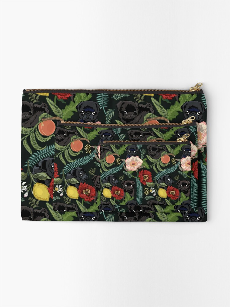Alternate view of Botanical and Black Pugs Zipper Pouch