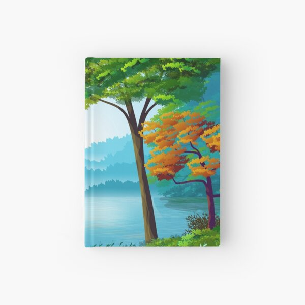 Beautiful Cartoon Colorful Forest, Trees, Lake and Mountains Landscape Hardcover Journal