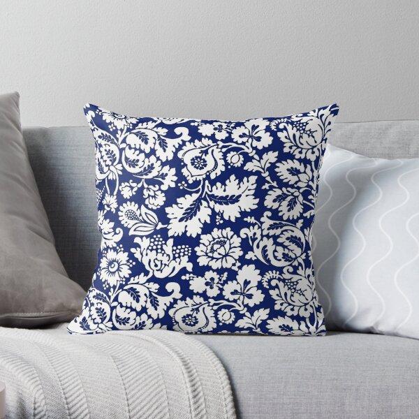 William Morris Blumendamast, Kobaltblau und Weiß Dekokissen