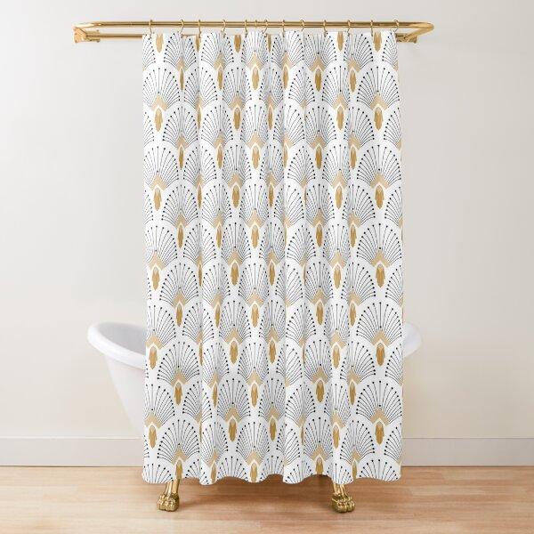 White, Gold and Black Art Deco Fan Flowers Motif Shower Curtain