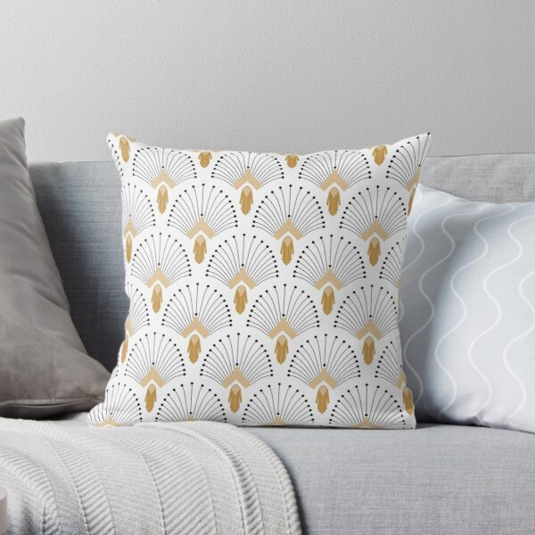 White, Gold and Black Art Deco Fan Flowers Motif Throw Pillow