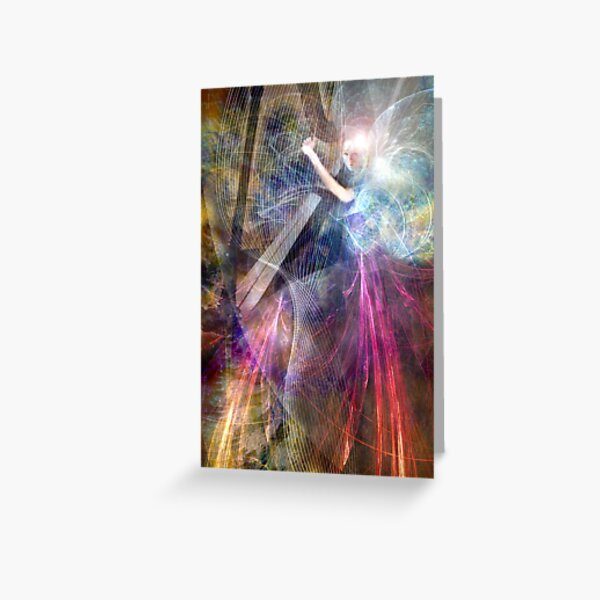 The Faery Harpist playing on the wind Greeting Card