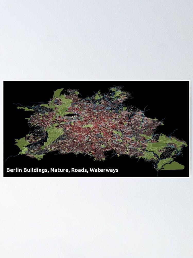 Alternate view of Berlin Buildings, Nature, Roads, Waterways - Print Poster