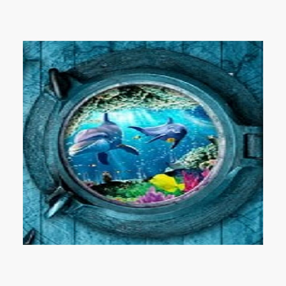 Wall Hanging Throw Dolphins and Blue Porthole Print