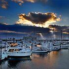 Sunset over Astoria harbor Oregon USA by pdsfotoart