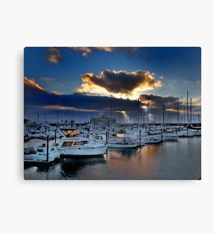 Sunset over Astoria harbor Oregon USA Canvas Print