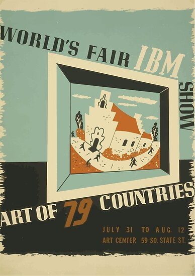 WPA United States Government Work Project Administration Poster 0742 World's Fair IBM Show by wetdryvac