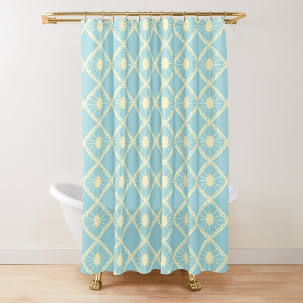 Blue and Yellow Mid-Century Sunburst Tiles Shower Curtain
