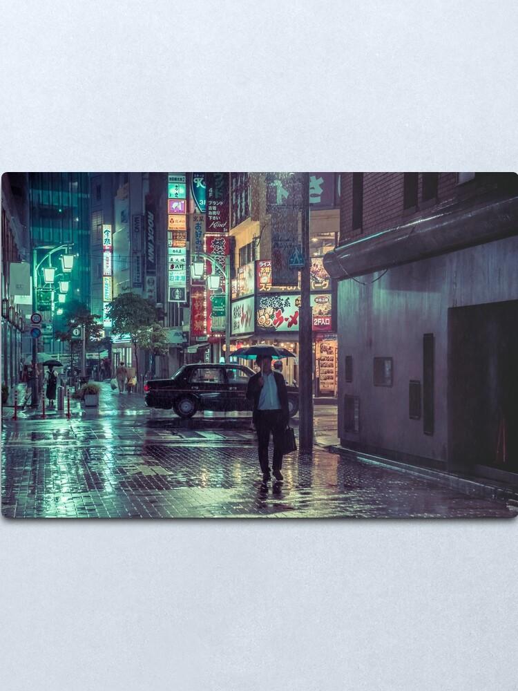 Alternate view of The Smiling Man // Rainy Tokyo Nights Metal Print