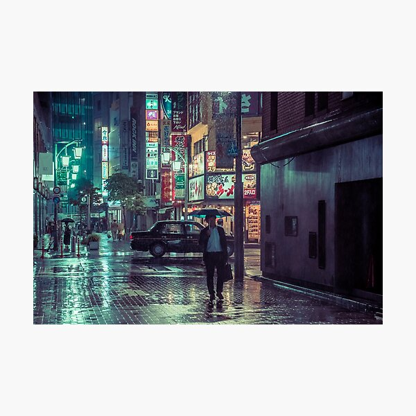 The Smiling Man // Rainy Tokyo Nights Photographic Print