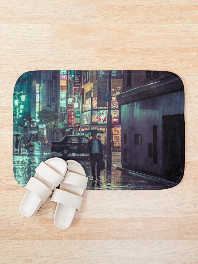 Alternate view of The Smiling Man // Rainy Tokyo Nights Bath Mat