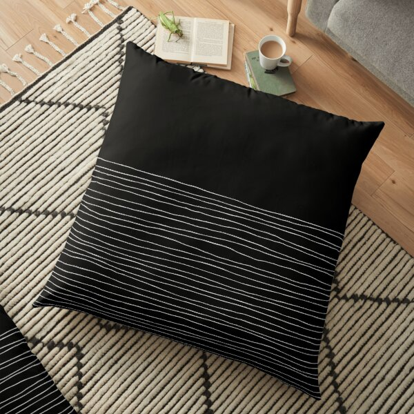 Hand Striped black and white Floor Pillow