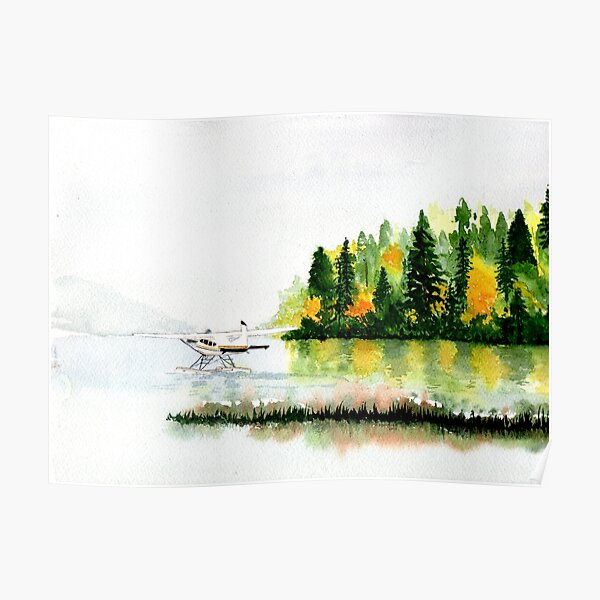 Pacific Northwest Float Plane in Fog, watercolor painting Poster