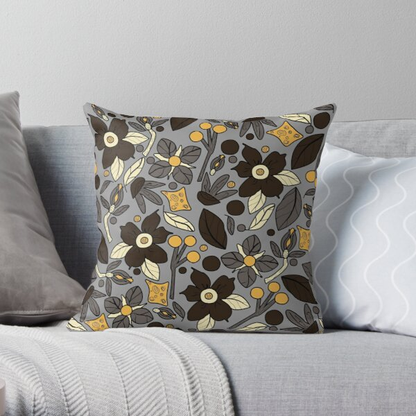 Floral Delights Naturals Songbird of Greys and Browns Throw Pillow
