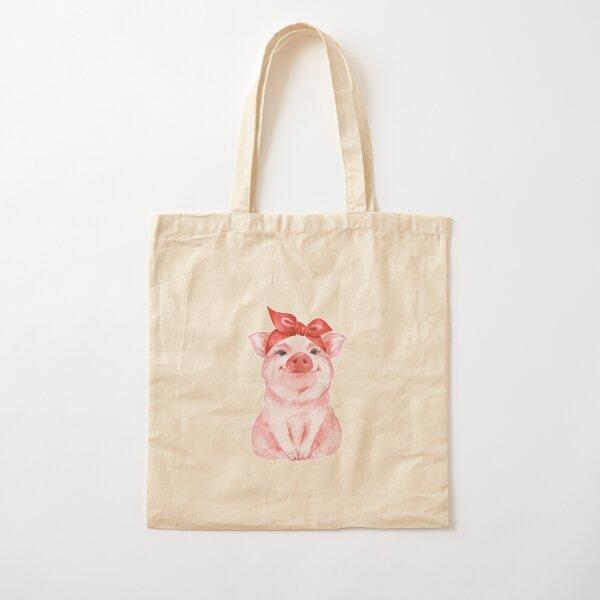 Piggy en rojo Bolsa de algodón