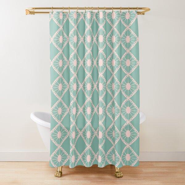Mint Green & Pale Pink Mid-Century Sunburst Tiles Shower Curtain