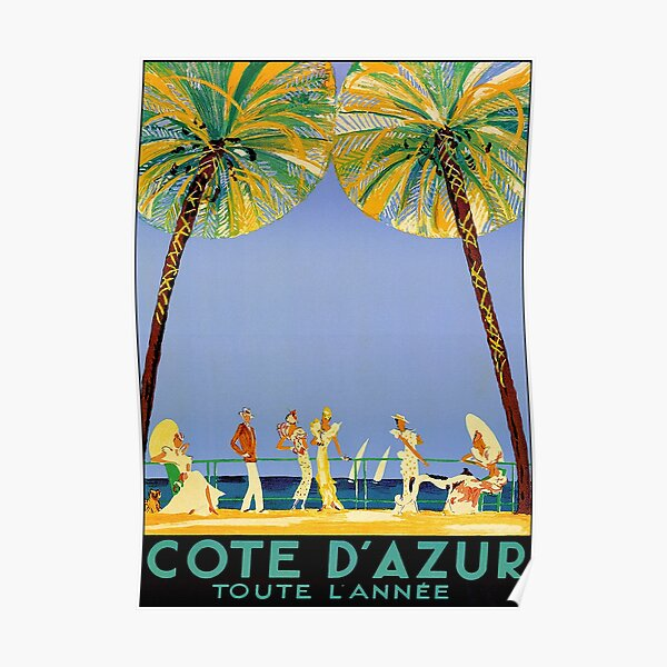 Cote D'Azur All Year vintage French travel poster Poster