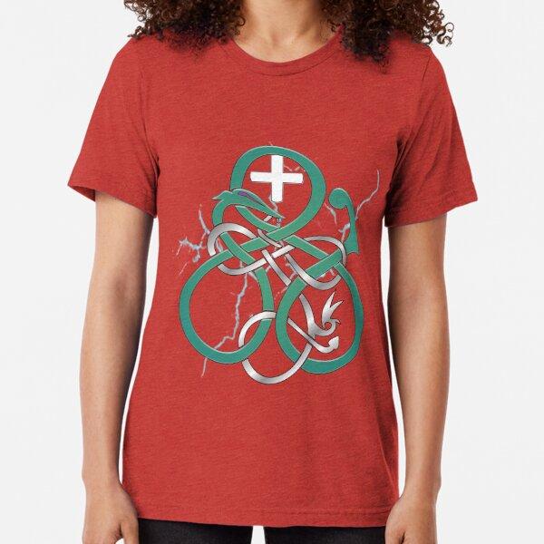 Runemaster's Serpent - Green and Silver Tri-blend T-Shirt