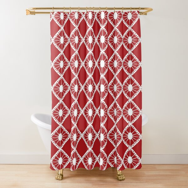 Red and White Mid-Century Sunburst Tiles Shower Curtain
