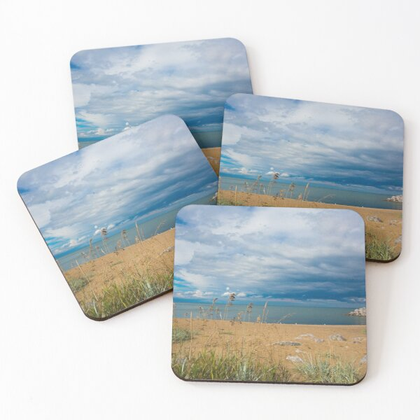 Stormy Beach, Calm after the storm, Beach house decor Coasters (Set of 4)