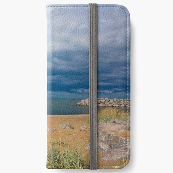 Stormy Beach, Calm after the storm, Beach house decor iPhone Wallet