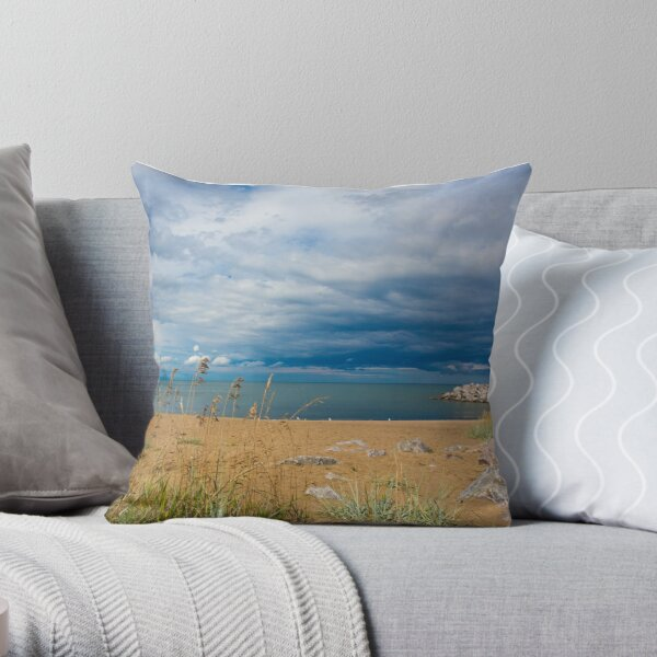 Stormy Beach, Calm after the storm, Beach house decor Throw Pillow