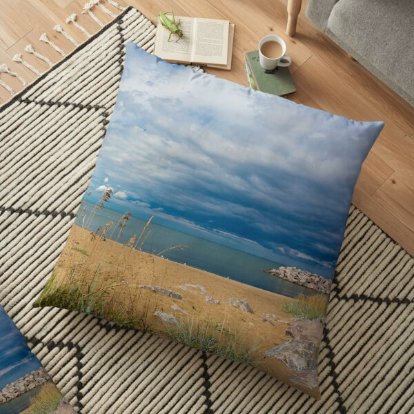 Stormy Beach, Calm after the storm, Beach house decor Floor Pillow