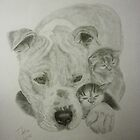 Bindi the American Pit Bull Terrier & His Little Friends by Istvan Natart